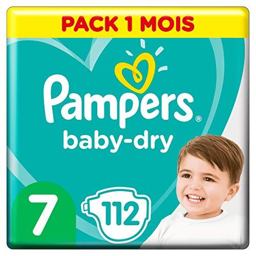 Pampers Baby-Dry Maat 7 (15+kg), 112 Luiers, Luchtdoorlatende Banen Voor Een Droge Huid Die Kan Ademen Tijdens De Nacht, Maandbox