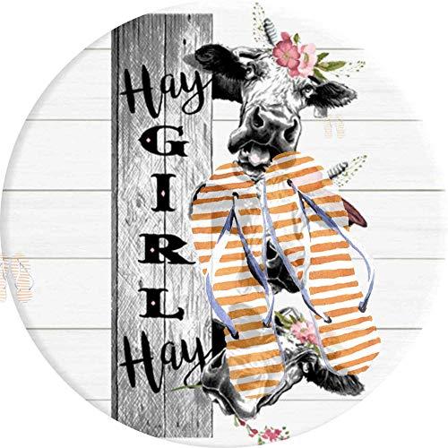 PEIGJH Tapis Salon Carpette Rond, Zone Tapis De Sol Souple Moquette Hay Girl Crazy Heifer Cow Farm Tapis De Salon Chambre Couverture Carpet Mats Rug