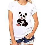 IMJONO Été T-Shirt Femme Humour Panda Impression Tee Shirt Manche Courte Top Femme Grande Taille Blanc Chemisier Chic O-Neck Confortable Modal Hauts Femme Pas Cher(C,XL