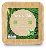 10'' Square Disposable Bamboo, Areca Palm Leaf Plates (25 Pack) + 6' (5 Pack) Heavy Duty Sturdy Environmentally Safe 100% Biodegradable Eco. Elegant Rustic Beach Wedding Decor Party Picnic Camping