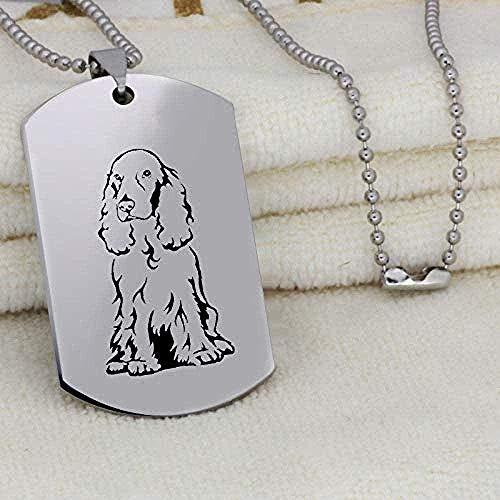 Yiffshunl Collar Moda Perro Colgante Collar Grabado Perro Imagen Collar de Acero Inoxidable