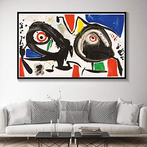 IHlXH Joan Miro Surrealismo Moderno Arte Pinturas en Lienzo Cuadro Abstracto Arte Retro Cartel e Impresiones Habitación de Pared Decoración del hogar A3 60x90 sin Marco