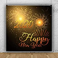 Qinunipoto 背景布 新年背景 新年を迎えて 写真撮影用 2020 happy new year 写真の背景 星明かり 花火 背景幕 撮影用 ロマンチックな夢の背景 写真スタジオ 写真 カスタマイズ可能な背景 ビニール 1.8x1.8m