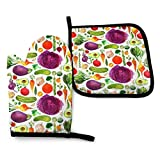Summer Tropical Cute Cartoon Pineapple Novelty 2 Piece Home Kitchen accesorios Oven Mitt and Pot Holder Set for BBQ Cooking Baking Grilling Barbecue Gift Printing Funny Themed