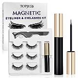 Magnetic Eyelashes, Magnetic Eyelash Kit, Eyeliner Kit, Reusable Magnetic Eyelashes, Magnetic Eyeliner for Magnetic Lashes Set Waterproof Natural Look Reusable False Lashes with Tweezers(3 Styles)