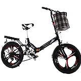 LSBYZYT Bicicleta Plegable, Bicicleta Ultraligera de 20 Pulgadas, Bicicleta portátil para Adultos-Negro_Incluye Cesta para Bicicletas