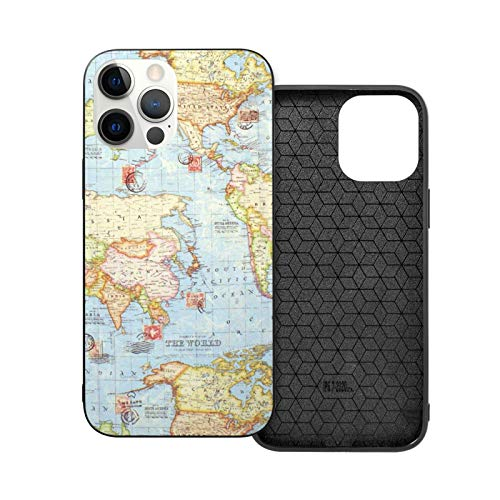 12 Pro Max Case Atlas - Funda protectora para hombre y mujer, diseño de mapa del mundo