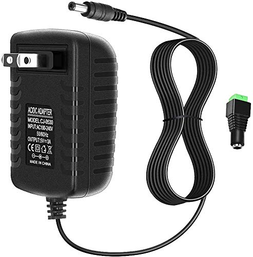 Alarmpore AC to DC Adapter 5V 3A 15W 100V~240V to DC Power Supply Adapter with 5.5mm x 2.1mm Connector Plug AC Charger for Led Strip, String Lights, CCTV Cameras, Security System