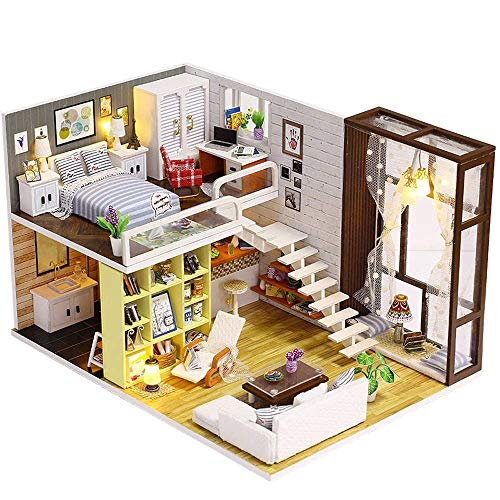 WEHOLY Jouet Diy3D Doll House, DIY Cottage Simple Urban Handmade Model Creative Gift House Model Villa Creative Educational Toy Girl Birthday Gift, Children´s House Decoration Gifts
