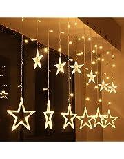 SKEIDO 2.5M LED Star Lights, Curtain String Lights, 8 Lighting Modes, Waterproof Fairy Lights for Bedroom,-12 Stars 138 LED