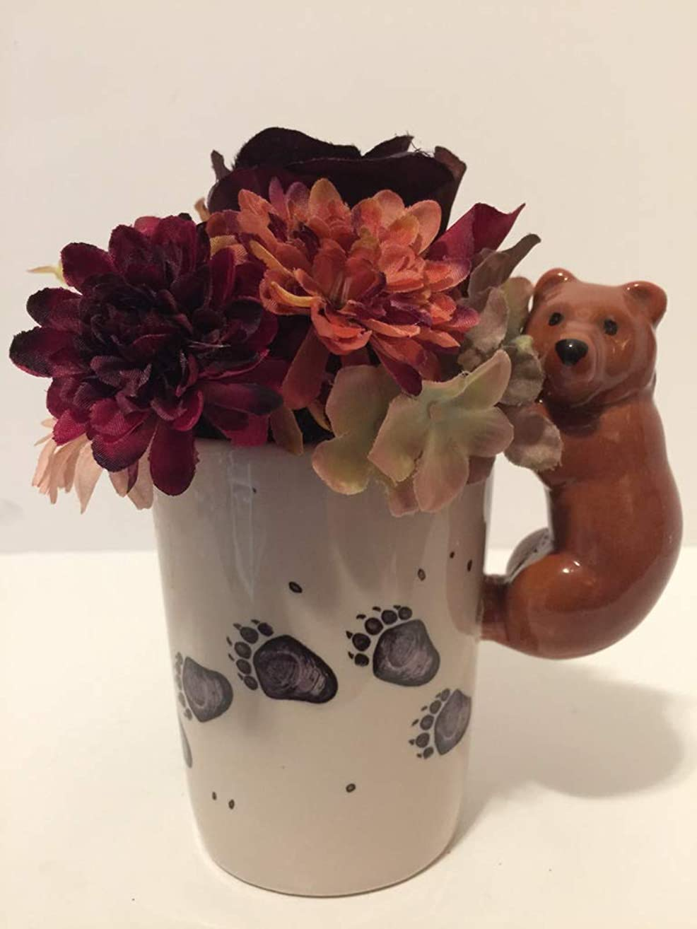ANIMAL FUN - CLIMBING BEAR VASE - RED, BURGUNDY, PINK, CREAM, GREEN, PURPLE, BLUE MIXED FLORAL
