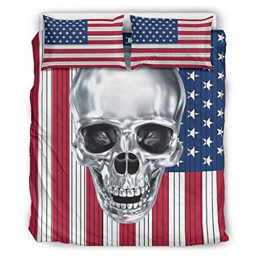 BOBONC Skull 3D Bedding Set Duvet Quilt Und Kissenbezug Breathable Einzelbett Bettwäsche Sets für Kinder 100% Polyester White 168x229cm