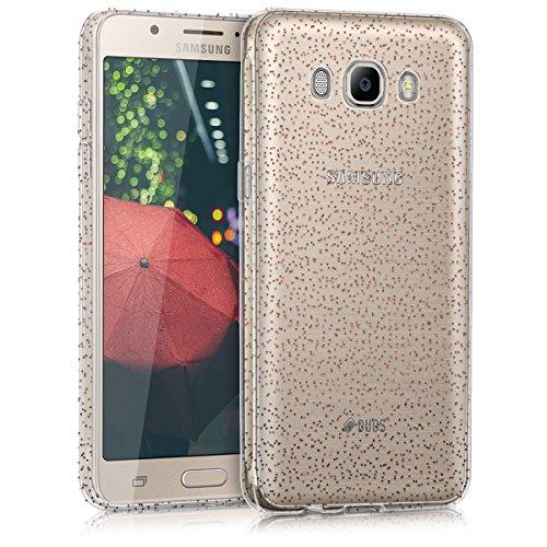 kwmobile Funda Compatible con Samsung Galaxy J5 (2016) DUOS - Carcasa de TPU con Purpurina - Rojo/Transparente