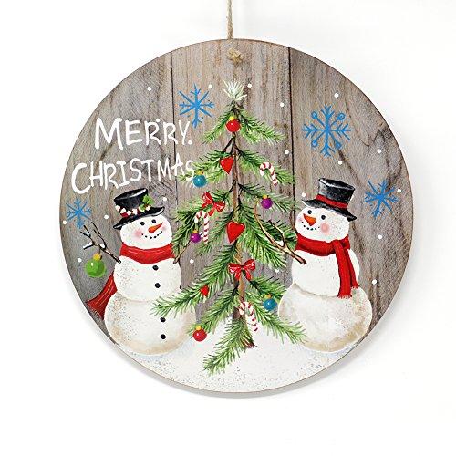 Fuoriporta in Legno Rotondo Merry Christmas con Pupazzi di Neve 30cm