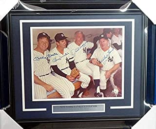 New York Yankees Legends Autographed Memorabilia Framed 11x14 Photo Mickey Mantle, Joe Dimaggio, Billy Martin & Whitey Ford - Beckett Authentic