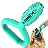 Pawaboo Dog Toothbrush Chew Toys, Rubber Toothbrush Stick Teeth Cleaning Dental Care Massager, Multifunctional Interactive Tug Chew Toys with Handle for Medium Large Dogs Aggressive Chewers, Lake Blue