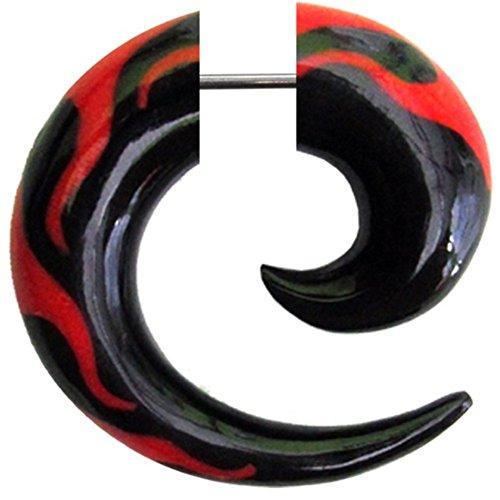 Chic-Net Fake Piercing- Horn Flammen Spirale- schwarz mit roten Flammen-Inlay- Expander- Ohrhänger- Ohrstecker- Ohrring
