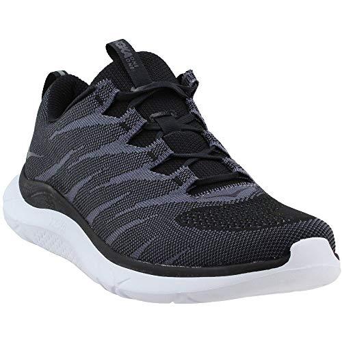 HOKA ONE ONE Men's Hupana Knit Jacquard Running Shoe (Black/White, 9.5 M US)