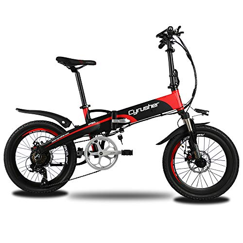 Extrbici XF500 Electric Folding Bike 250W 48V 10A Li-Battery 20 Inch Tire 50CM Aluminum Alloy Frame 7 Speed Shimano Shift Gears 5 Setting Smart Computer Double Disc Brakes with Rear Rack for Commuting