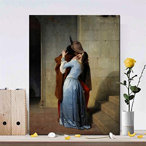 """Pintor italiano Francesco Hayez """"Kiss-Kiss"""" Posters e impresiones Arte de la pared Pintura en lienzo Imagen de amante para la decoración de la sala de estar-70x90cm Sin marco"""