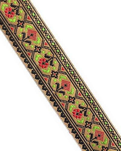 Craftbot Brokat-Spitze, geometrisches Blumenmuster, 3 m schwarz