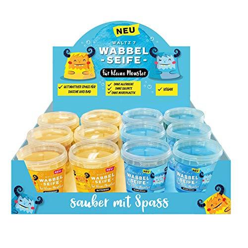 Kinder Wabbelseife 12er Set, mit Düften Butterkeks und Bubblegum, natürliche Seife für die Dusche, Kindergeburtstag Mitgebsel für jeden Kinderwunsch, von Waltz7