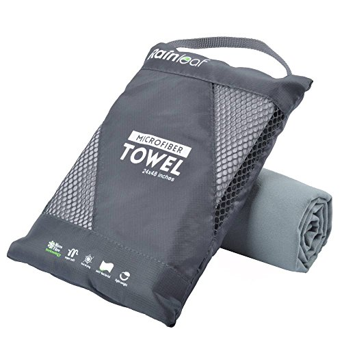 Rainleaf Microfiber Towel,Gray,30 X 60 Inches