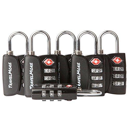 Paquete de 6 Candados para Equipaje con Combinación de 3 Dígitos Aprobado por la TSA e Indicador de Alerta de Apertura para Maletas y Equipaje de Viaje (Negro)