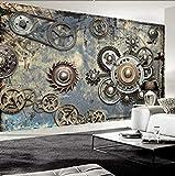 Papel tapiz fotográfico Engranaje mecánico Retro moderno Murales de pared 3D KTV Bar Café Restaurante Telón de fond Pared Pintado Papel tapiz 3D Decoración dormitorio Fotomural sala mural-350cm×256cm
