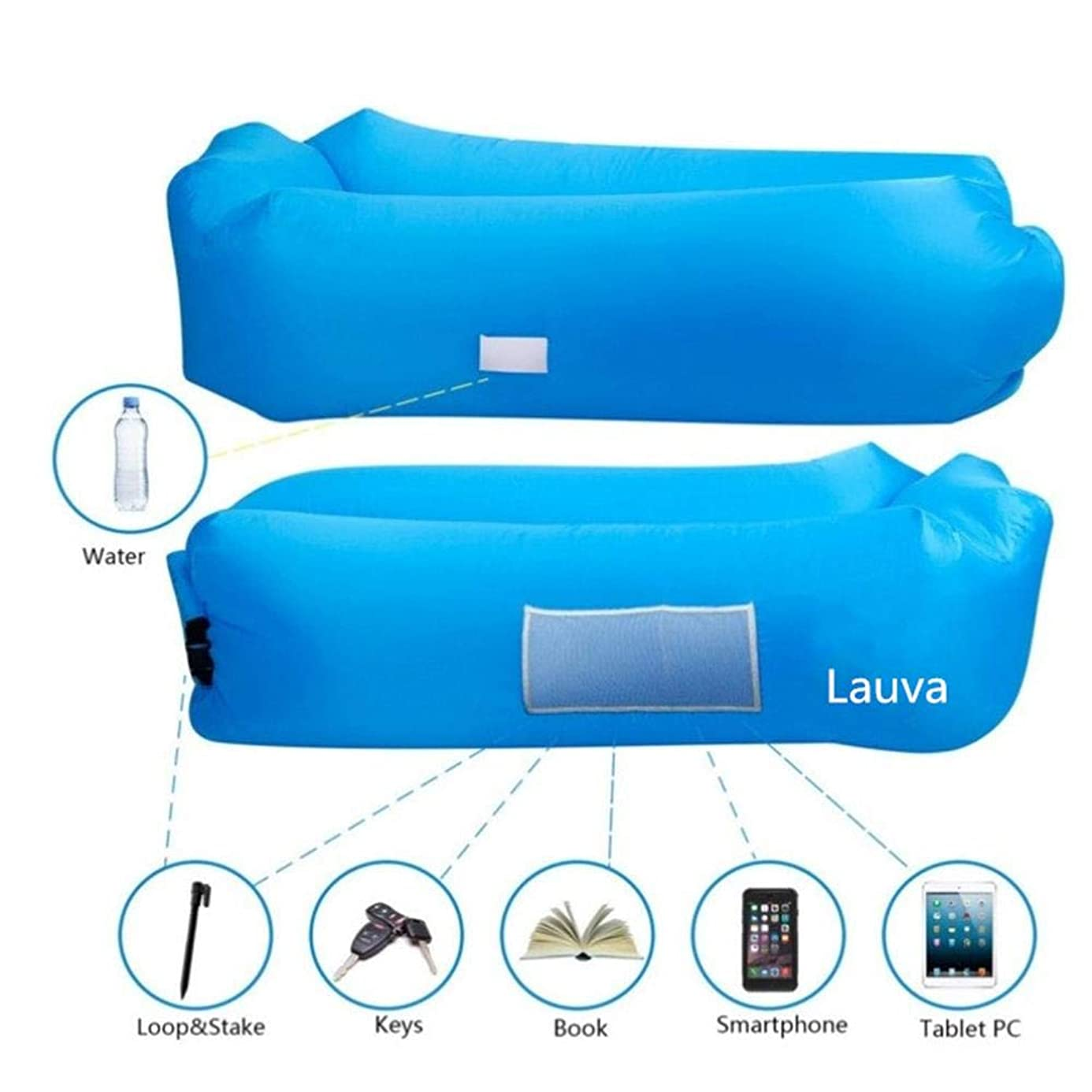 Lauva Air Sofa, Inflatable Lazy Lounger with Headrest,Self-Inflating Sleeping Mattress Couch Pad Carrying Bag Bed for Backyard Beach Camping,Picnic,Travel,Park Pool- Hold Up to 500lbs