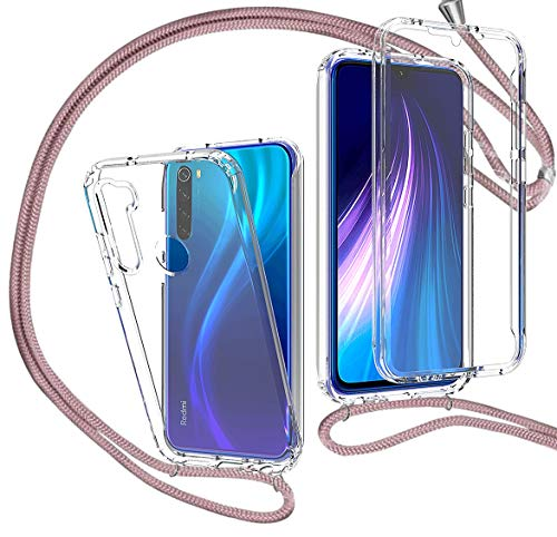 MXKOCO Funda con Cuerda para Xiaomi Redmi Note 8 [360 Grados Protección] Carcasa de movil con Cuerda para Colgar-Correa para Hombro y Cordón Colgante/Carcasa Banda con Cordon para Llevar