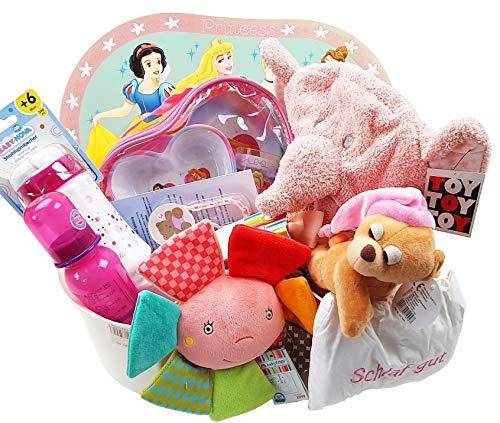 Baby Geschenkkorb Mädchen Geschenk für Geburt oder Taufe pink