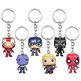 INTVN 6 Pcs Marvel Super héros Porte-clés Super héros The Avengers Deadpool Pendentif...
