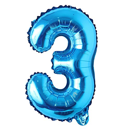 16' inch Single Blue Alphabet Letter Number Balloons Aluminum Hanging Foil Film Balloon Wedding Birthday Party Decoration Banner Air Mylar Balloons (16 inch Pure Blue 3)