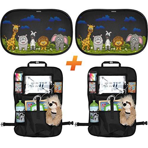 SMARTCAR ADDS Auto-Rücksitz-Organizer-Kinder - Schmutzabweisender Rückenlehnen-Schutz - Kick-Matte und Auto-Sitz-Schutz mit praktischen Rücksitz-Taschen inklusive iPad-Tablet-Fach