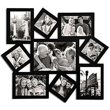 Adeco 9 Openings Decorative Black wood Wall hanging Collage Picture Linear Collage Picture Photo Frame - Made to Display Four 3x3, Two 3.5x5, Two 5x3.5, and One 5x7 photos