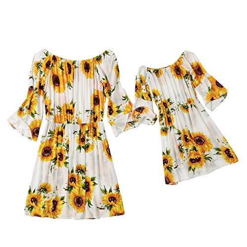 Madre e Hija Vestido Impresión de Flores Casual Manga Larga Fiesta Ropa Familiar Igual para Mujer Niña