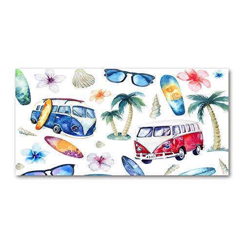 Tulup Cuadro en Acryl - 140x70cm - Mural Art Deco Wall plástico Vidrio Acrílico Cuadro Pintura Acrílica - Deporte - Multicolor - Símbolos del Surf