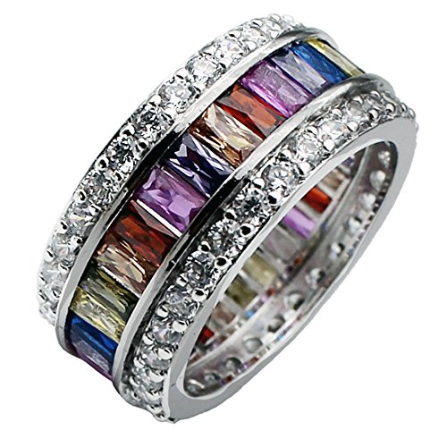 Womens Multicolor Band Baguette Gemstone Rings 925 Sterling Silver Ring Sizes 6 - 12 (8)