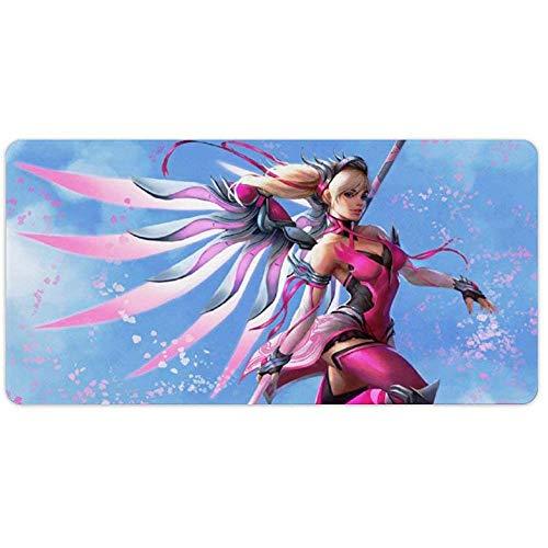Overwatchs Große, erweiterte Gaming-Mauspads Pink Mercy Overwatchs, große Schreibtischmatte, wasserdichte, rutschfeste, rutschfeste, genähte Mousepads für Computer 31,5 x 11,8 Zoll