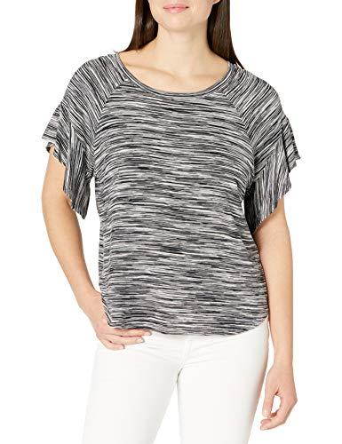 Karen Kane Women's Ruffle Sleeve TOP, Black with White, Small
