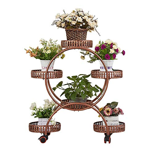 CCSUN 4-Tier-pflanzenständer Mit 6 Korb, Schmiedeeisen Metall Bonsai Display Regal Mit Rädern Für Indoor Outdoor Blumenständer-Kupfer A 50×32×80cm