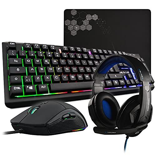 THE G-LAB Combo SELENIUM Pacchetto di Gioco 4 in 1 - Tastiera Gamer ITALIANA Retroilluminata, Mouse Gamer 3200 DPI, Cuffia da Gioco, Tappetino Mouse Antiscivolo - Compatibile con PC/PS4/Xbox One