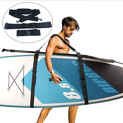 N/Y Kayak Carrying Strap, Adjustable Paddle Board SUP Carry Strap Multi-Use Shoulder Sling Carrier Strap for Surfboard Stand Up Paddleboard Canoe Longboard Carry Belt Paddle Board Accessories