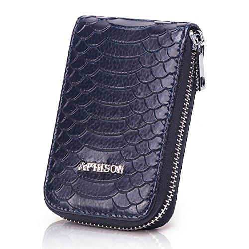 APHISONUK Damen RFID Schutz Blocking Leder Kartenetui Geldbörse minimalistische Portemonnaie Viele Fächer Veranstalter Kompakt für Frauen