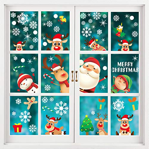 Christmas Window Clings Snowflake Window Decals Christmas Window Stickers Decorations for Holiday Santa Claus Elf Reindeer Christmas Window Clings Xmas Party Supplies - 8 Sheet 188 PCS