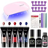 kit uñas semipermanentes, Secador de Uñas 48W UV 5 colores 15ml LED Nail Lamp Starter Set para uñas de gel,Kit de extensión para uñas de gel 5 colores + herramienta completa para el salón de uñas