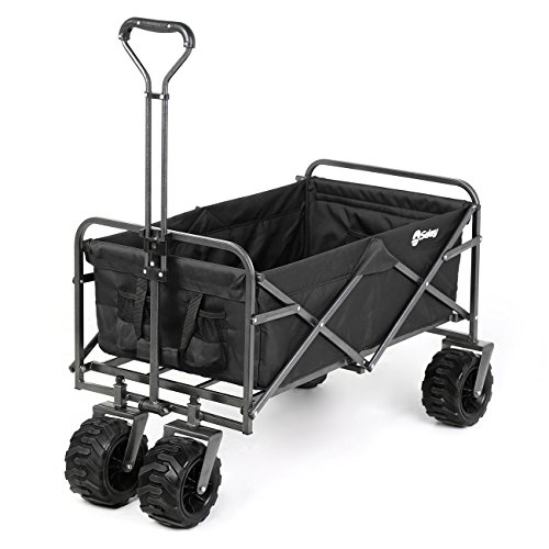 Sekey Folding Wagon Cart Collapsible Outdoor Utility Wagon Heavy Duty Beach Wagon with All-Terrain...