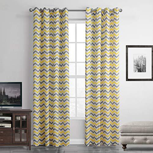 Cortinas amarillas y grises translucida con Ojales 140x260 cm