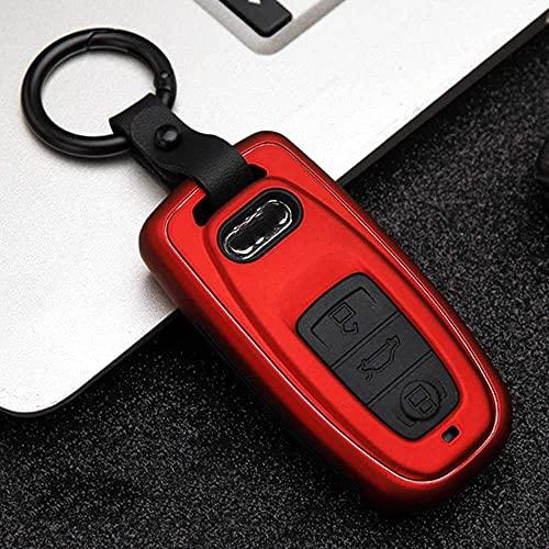 Funda para llave inteligente para Audi A1, A3, A4, A5, A6, A7, A8, Quattro Q3, Q5, Q7, 2013, 2009, 2010, 2011, 2014, 2012, 2015, rojo